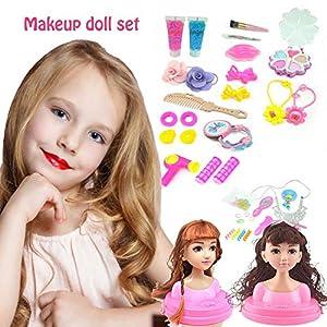 Maquillaje y peluquería,cabeza de maquillaje Super Model con cosméticos, set de muñecas de maquillaje Princess Hair Styling Head set de muñecas con accesorios de belleza y moda a partir de 3 años