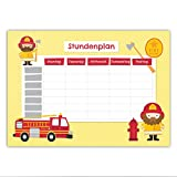 Papierdrachen Stundenplan Schule DIN A5 Block - Motiv Feuerwehr - beschreibbar zum Aufhängen und für ins Schulheft - Terminkalender Wochenplan