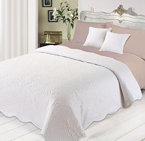 Dreamscene Tagesdecke Tröster Luxuriös gesteppt Kissen-Set, Polyester, Weiß, 3-teilig (Tröster Set Rot Und Schwarz)