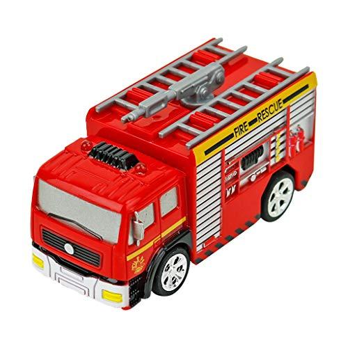 Luccase RC Rettungs Feuerwehrauto Tragbar ABS Fernbedienung Auto LKW Rot Spielzeug mit 4 Stücke Barricade für Kinder Geburtstag Geschenk (A)