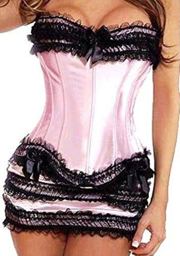 Martya Damen Gothic Lace up Corsagen Kleid Petticoat Übergrößen S-6XL Rosa