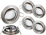 5er Pack - Ultraflacher LED Spot Einbaustrahler Edelstahl 230V eisen-gebürstet schwenkbar - 4W 330lm 120° - warmweiß (2900 K)