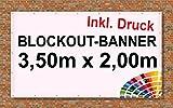 Bauzaun | Premium Banner 900g/m² | Werbebanner / Werbeplane | 3,5m x 2m | blickdicht | inklusive Ösen | brillanter Druck - besonders stabil - wetterfest | einseitig mit Ihrem Motiv bedruckt