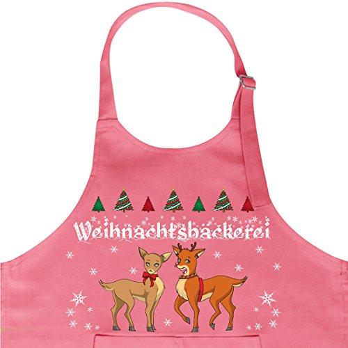 """Wandkings Kinderschürze mit Schriftzug """"Weihnachtsbäckerei"""" mit zwei niedlichen Rentieren - Kinder-Kochschürze - in 2 verschiedenen Farben erhältlich - PINK"""