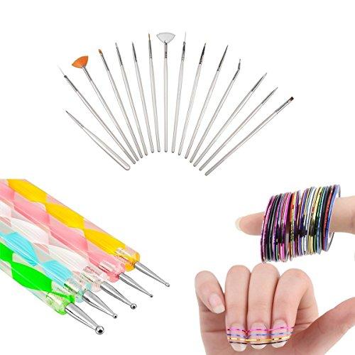 Colossy 15pcs Acrylic Nail Art Design Painting Pen Polish Brush + 5pcs 2 way Dotting Pen Marbleizing Tool + 10 Rolls Nail Striping Tape Tool Kit Set