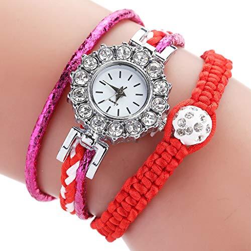LLCOFFGA Damen Armband Strass Uhr Trend Weben Weibliche Armbanduhr Frauen Quarzuhren, Geschenke Zum Geburtstag Valentinstag Muttertag,Red