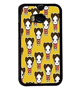 Fuson Cute Doll Pattern Back Case Cover for HTC ONE M8 - D3952