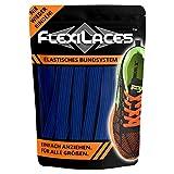 FLEXILACES - elastische Schnürsenkel | nie Wieder Schuhbänder binden - DUNKEL-BLAU