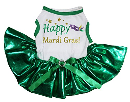 petitebelle Pet Supply Happy Mardi Gras Mask Weiß T-Shirt Grün Hund Kleid (Grünen T-shirt Gras)