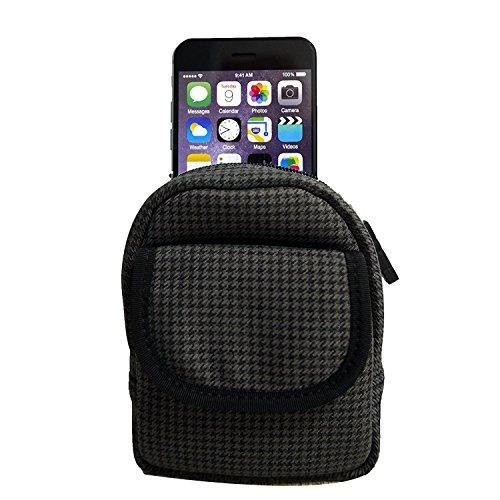 Sport Handytasche, Multifunktionale Reißverschluss stoßfest Tasche für iPhone 8, X, 7, 6, 6S, SE, Sony Xperia X/Z5/Z3Compact, Samsung Galaxy A3mit Bonus Faltbar Handy Ständer, Black Gray Pattern