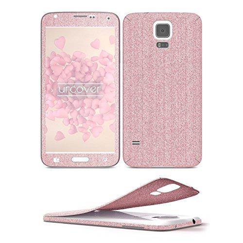 Urcover® Glitzer-Folie zum Aufkleben | Samsung Galaxy S5 | Folie in Rosa | Zubehör Glitzerhülle Handyskin Diamond Funkeln Schutzfolie Handy-schutz Luxus Bling Glamourös