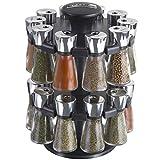 Cole & Mason Hudson Kräuter und Gewürze 20 Gläser Karussell Gewürzständer, Kunststoff, Black, Jar, Einheiten