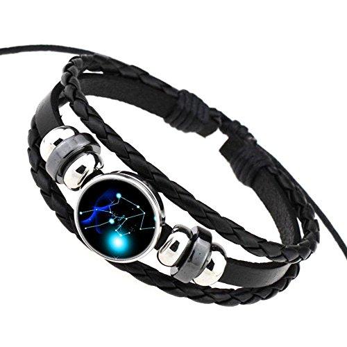 Daxey Punk 12 Sternzeichen Glas Metallschnalle Charm Armband Frauen Mann Fashion Constellation Schmuck schwarz Weave Mehrschichtige Lederarmband [Taurus] (Tiffany Halskette T)