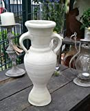 Amphore 35 cm aus weissgrauem Terracotta Terrakotta Pokal Vase Krug
