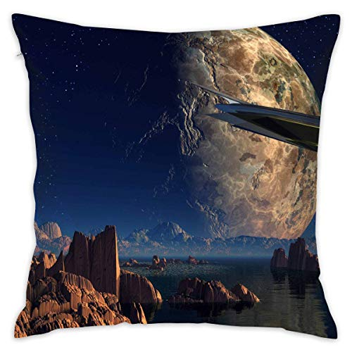 LULABE Landscape Water Rock Spaceship Planet Decorative Throw Pillow Modern Square Form Stuffer for Couch Sofa Or Bed Set Cozy Home Decor Size:16 X 16 Inches/40cm x 40cm