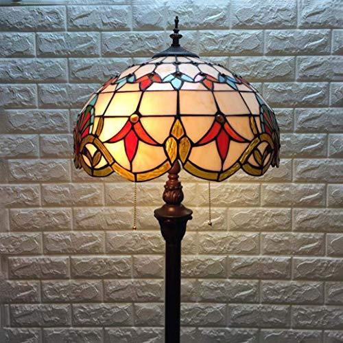 JKL Stehleuchte im Tiffany-Stil für das Arbeitszimmer, 16-Zoll-Barock-Stehleuchte aus Buntglas mit...