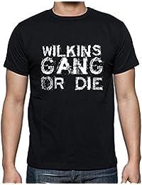 Wilkins Family Gang , Camiseta para las hombres, manga corta, cuello redondo, negro