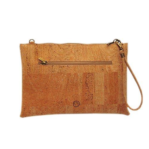 100% donna borsa a tracolla verniciata con impugnatura in sughero e la mano tracolla removibile Marron 32455 CAMEL