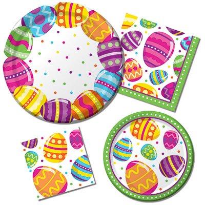 Happy Easter Egg Fun- Teller und Servietten-8Gäste Party Bundle-4Elemente: Dinner & Dessertteller, Luncheon & Getränke Servietten Satin-dessert