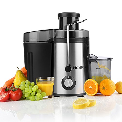 Homdox Entsafter Edelstahl Trennscheiben 2 Geschwindigkeiten Automatischer Elektrischer Juicer Extractor für Obst Gemüse 350W mit Saftbehälter