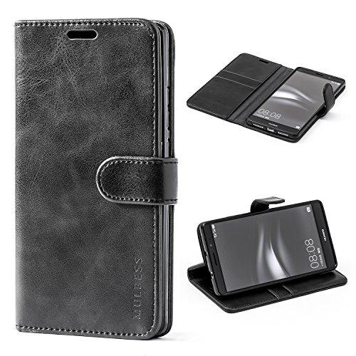 Mulbess Ledertasche im Ständer Book Case / Kartenfach für Huawei Mate 8 Tasche Hülle Leder Etui,Schwarz
