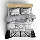 Nightlife Blue - Bettwäsche / 100% Baumwolle Perkal Bettbezug - Big City Dreams Grey - Grau - 155x220 - Mit 1 Kissenbezug 80x80