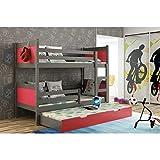 JUSThome LEON Cama juvenil infantil Litera con cajones con cama adicional (LxBxH): 190x85x150 cm Gris Grafito Rosa