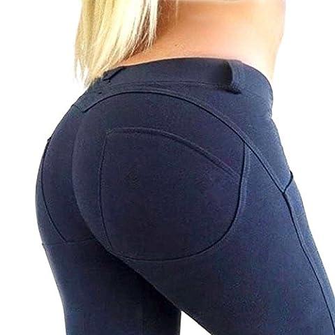Minetom Femme Taille Haute Push Up Leggings Jambières Séchage Rapide Tissé Skinny Stretch Pantalon Serré Survêtement Yoga Jogger Pilates Bleu EU