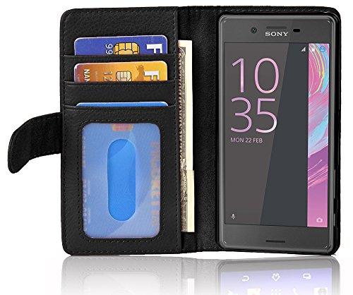 Cadorabo Hülle für Sony Xperia X Performance - Hülle in Oxid SCHWARZ – Handyhülle mit 3 Kartenfächern - Case Cover Schutzhülle Etui Tasche Book Klapp Style
