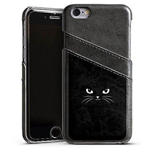 Apple iPhone 5s Housse Outdoor Étui militaire Coque Chat noir Chat Chat Étui en cuir gris