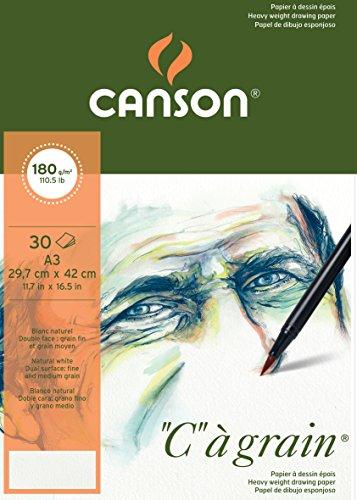 Canson 400060578 C a grain Zeichenpapier, A3, naturweiß
