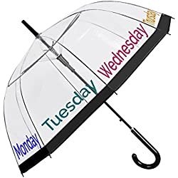 Paraguas Transparente Mujer Borde Negro Dias Semana - Paraguas Clásico de Burbuja Automatico Estampado - Fantasia a la Moda PoE Resistente Antiviento - 89 cm Diámetro - Perletti Time