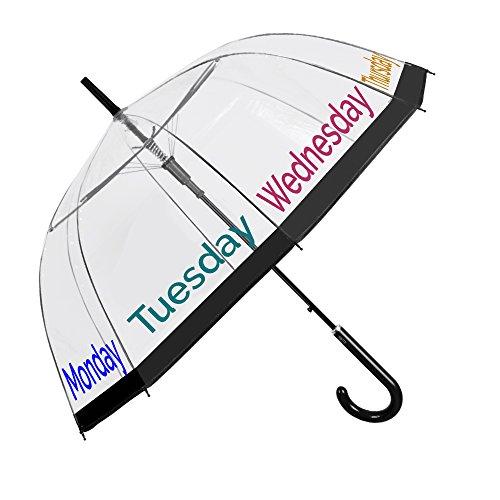 Paraguas Transparente Mujer - Paraguas Clásico de Burbuja Automatico - Estampado frases y días de la semana - Fantasia a la moda - Resistente Antiviento - 89 cm de diámetro - Perletti Time