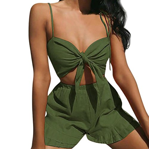 OSYARD Damen Sommer Solid Sleeveless Shirt Shorts Hosen Bluse Tops 2 STÜCKE Set(EU 44/XL, Grün)