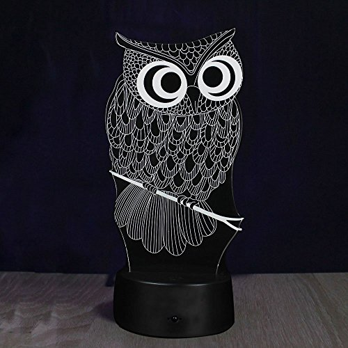 Lampe 3d Illusion Lichter der Nacht, kingcoo verstellbar 7Farben LED Acryl 3d Creative Stereo Touch Switch Visual Atmosphäre Licht Tisch, Geschenk für Weihnachten Modern Eule - 4