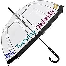 Paraguas Transparente Mujer - Paraguas Clásico de Burbuja Automatico - Estampado Frases y días de la