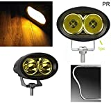 #4: PR Bike Fog Lamp Light 20w 3200Lm Cree Led Projector LED Aux Lights 1pc YELLOW Light Motorycle Fog Light Bike Projector Auxillary Spot Beam Light with and For Honda CB Trigger STD