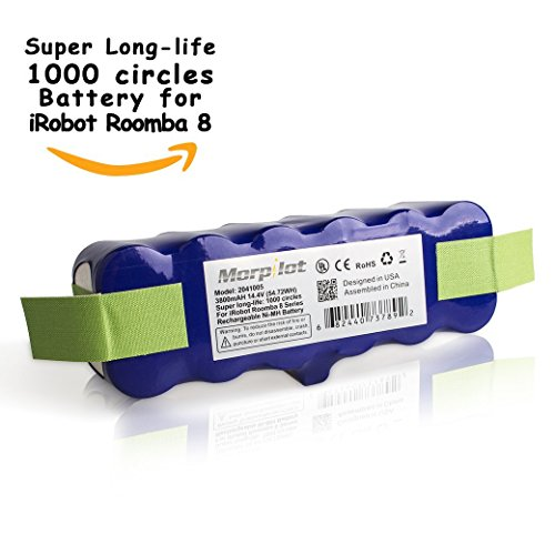 Morpilot ® 3800mAh 14.4V Extended Super Long Life 1000-Circles Battery for Irobot Roomba 500/600/700/800 Series,880 510 530 531 532 533 535 536 540 545 550 552 560 561 562 565 570 580 581 582 585 595 600 620 630 650 655 660 700 760 770 780 790 800 805 870