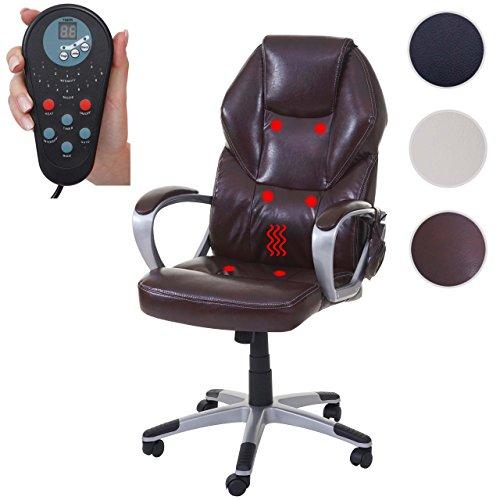 Massage-Bürostuhl HWC-A69, Drehstuhl Chefsessel, Heizfunktion Massagefunktion Kunstleder ~ bordeaux