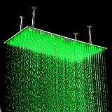 99.06 x 20 cm Edelstahl Duschkopf mit Farbwechsel LED Licht