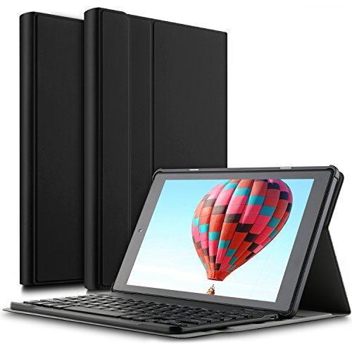 IVSO Das neue Fire HD 10 QWERTZ Tastatur, Abnehmbare Wireless Bluetooth Tastatur Schutzhülle mit Standfunction für All-New Amazon Fire HD 10,1 Zoll (7th Gen.- 2017 Modell) Tablet, Schwarz