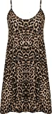 Plus Size Womens Printed Strappy Sleeveless Ladies Mini Dress Vest Top - Leopard - 20-22