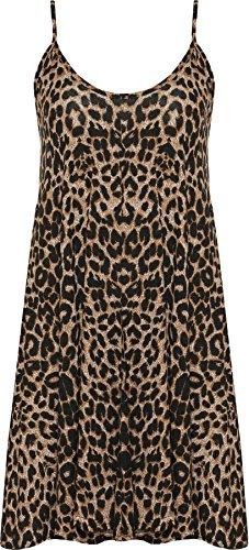WearAll - Übergröße Bedruckt Ärmellos Riemchen Mini Kleid Vest Top - Leopard - 44-46 - Luxe Leopard