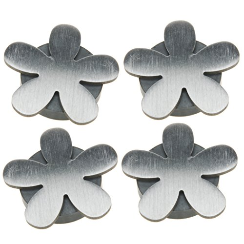 Venilia Tischtuchbeschwerer Blume Tischtuchhalter Tischdeckengewichte mit Magnet, 4Stk, Metall, Silber, 5 x 5,5 x 0,5 cm, 54205 -