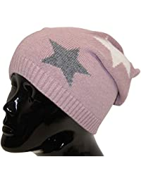 Strickmütze Beanie Damen Sternen Motiv Kaschmir Wolle perfektes Accessoire