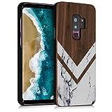 kwmobile Funda para Samsung Galaxy S9 Plus - Carcasa de [Madera] - Case Trasero Protector [Duro] con diseño de Madera y mármol