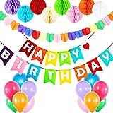 Nbrell Kindergeburtstag Deko, Happy Birthday Dekoration, mit 8pcs Wabenbälle, 30 Große Geperlte Ballons, Regenbogen Herzform Garland,Happy Birthday Girlande für Mädchen und Jungen,