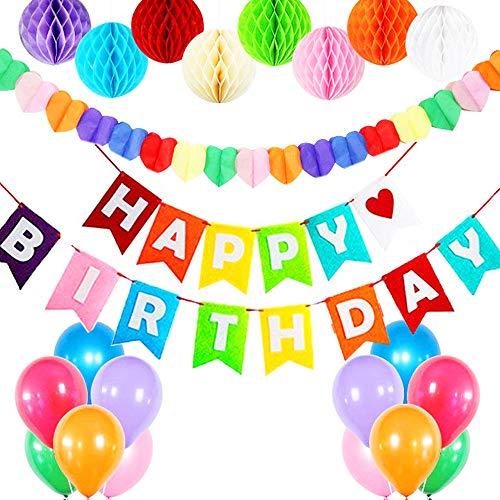 NBRELL Kindergeburtstag Deko, Happy Birthday Dekoration, mit 8pcs Wabenbälle, 30 Große Geperlte Ballons, Regenbogen Herzform Garland,Happy Birthday Girlande für Mädchen und Jungen, -