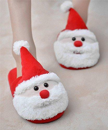 Auspicious beginning Noël fournitures de maison flocon de neige Père Noël Santa pantoufle intérieure pour les enfants, hommes, femmes Santa B