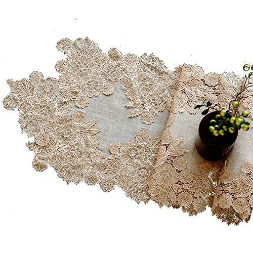 Chemin de table Blanc, Tapis de Table en Bambou de Dentelle de Bambou, Convient à la Table de Salle à Manger/Table à thé/Meuble TV/Piano (Couleur : B, Taille : 35×180cm)